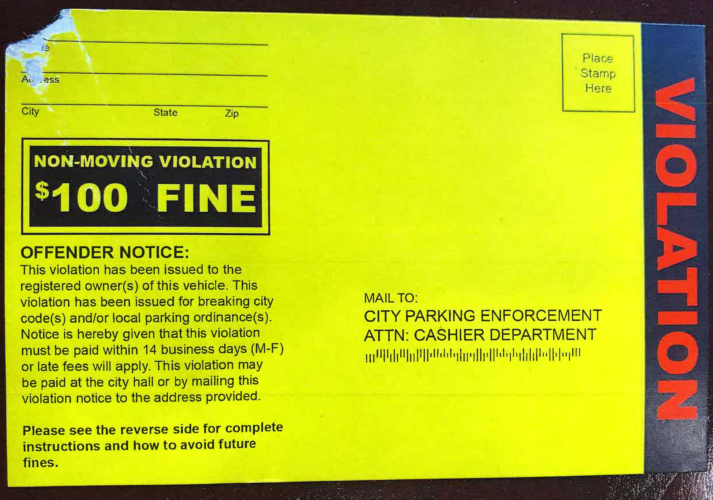 Front view of one of the fraudulent parking tickets issued in Morgantown.