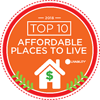A badge from Livability identifying Morgantown as a top 10 Affordable Place to live in 2018.