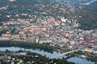 An aerial picture of downtown Morgantown.