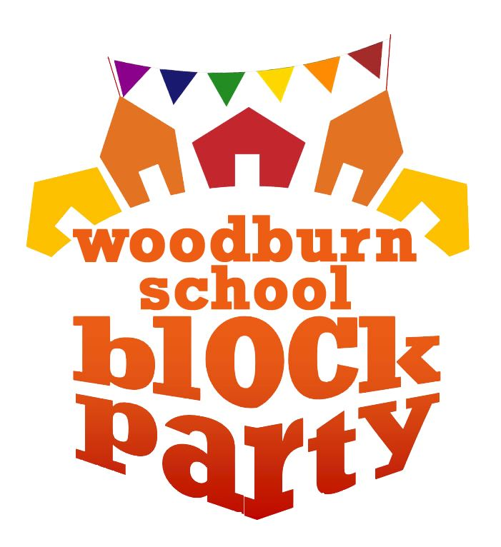 A logo for the Woodburn School Block Party on April 27, 2019.