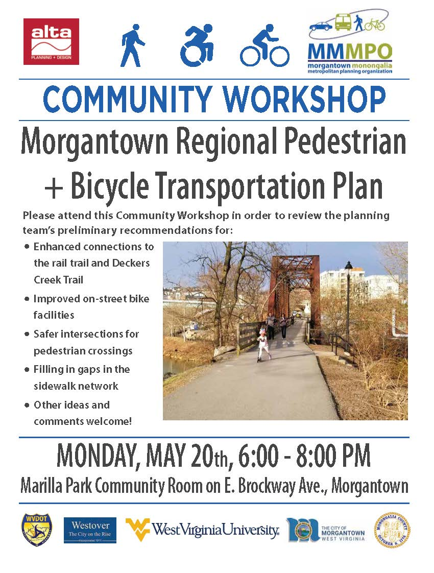 A flyer for a Community Workshop on the Morgantown Regional Pedestrian and Bicycle Transportation Pl