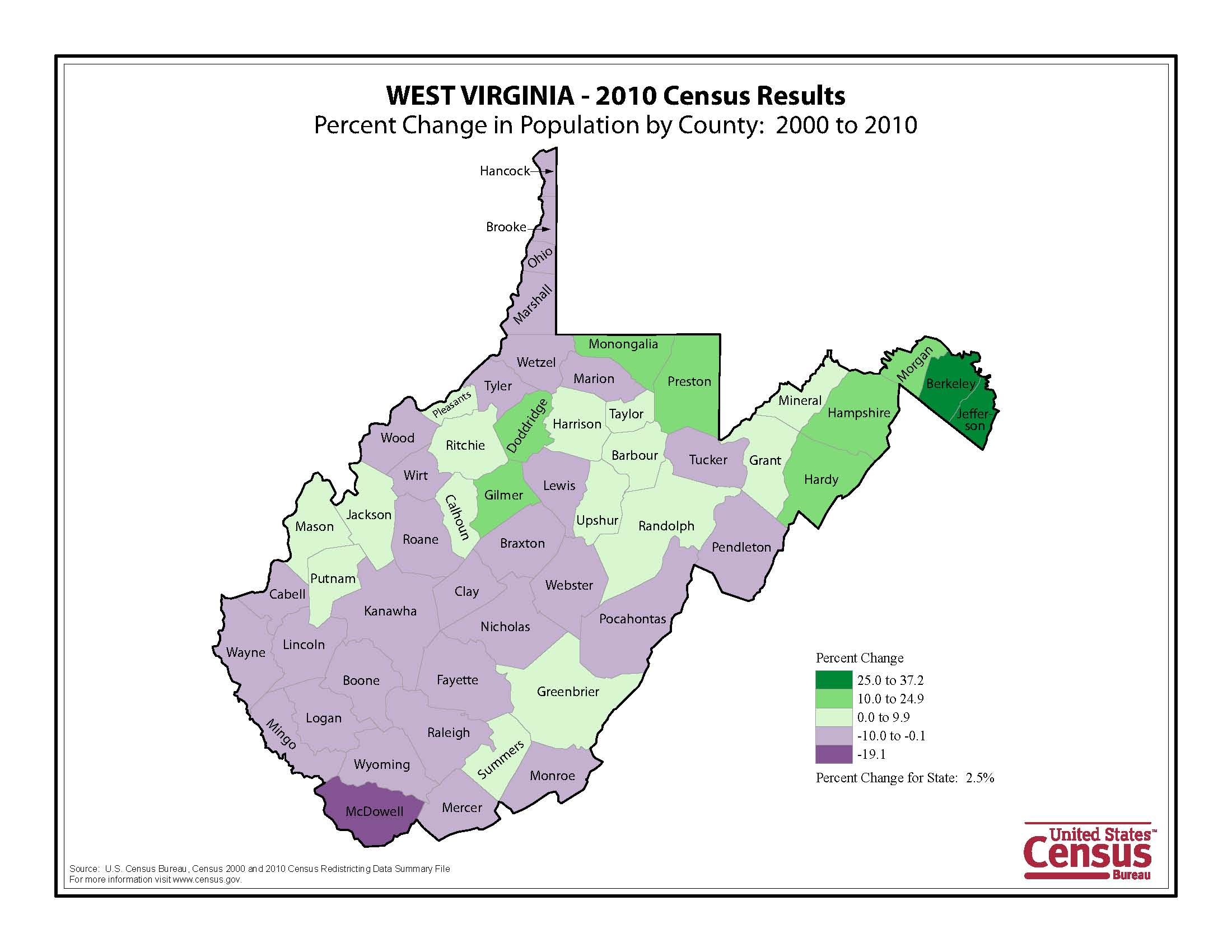 West Virginia - 2010 Census Results Map
