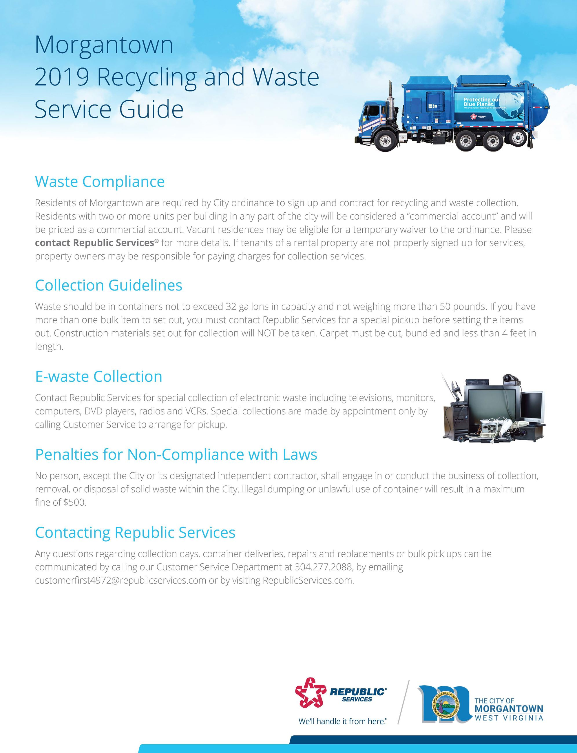 A picture of the cover page of the 2019 Morgantown Recycling and Waste Service Guide.