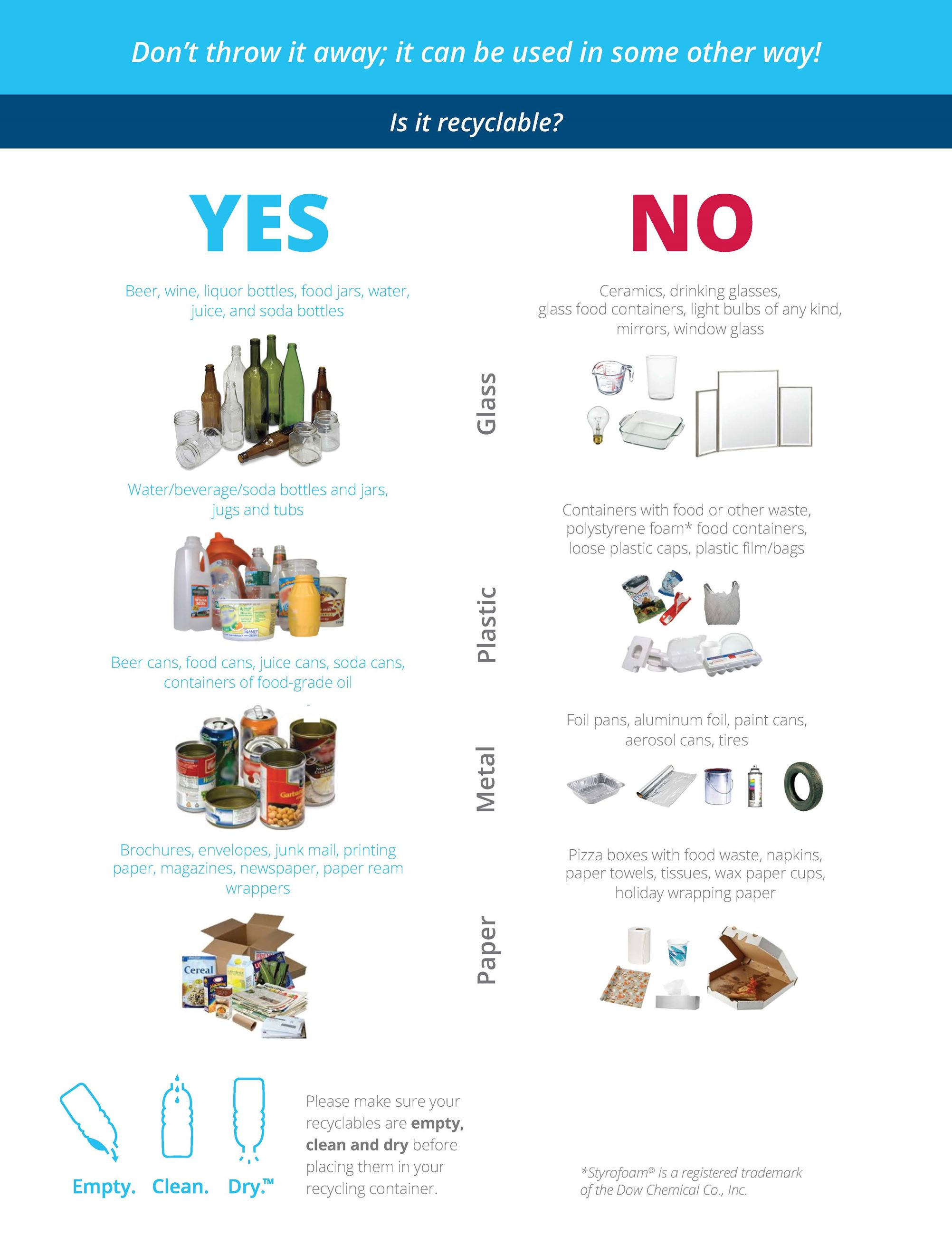 A picture of the cover page of the 2019 List of Acceptable Items for Recycling. Opens in new window