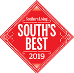 A badge listing Morgantown as one of the south's best small town's by Southern Living Magazine