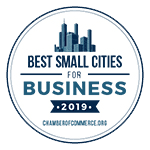 A badge listing Morgantown as one of the top 50 small cities in the U.S. for business.