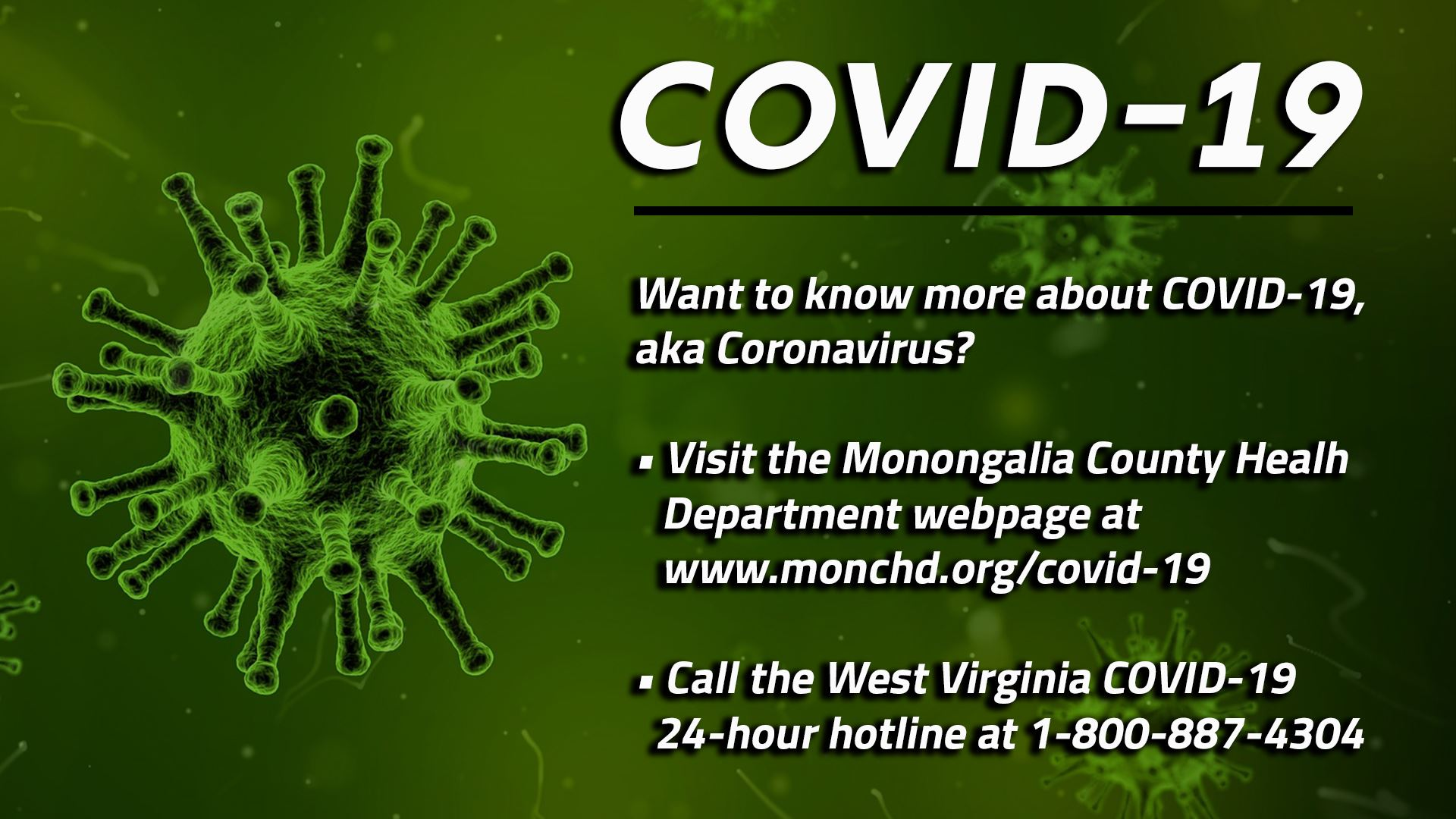 An image referring the public to the Monongalia County Health Department Covid-19 webpage at www.mon